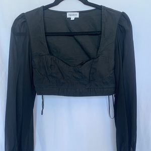 Revolve bustier top with sheer flowy sleeves